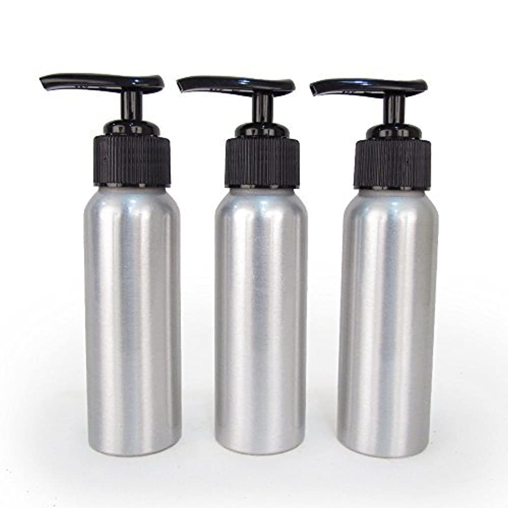 繰り返すラフレシアアルノルディサンドイッチSet of 3 - Slender Brushed Aluminum 2.7 oz Pump Bottle for Essential Oil Products by Rivertree Life [並行輸入品]