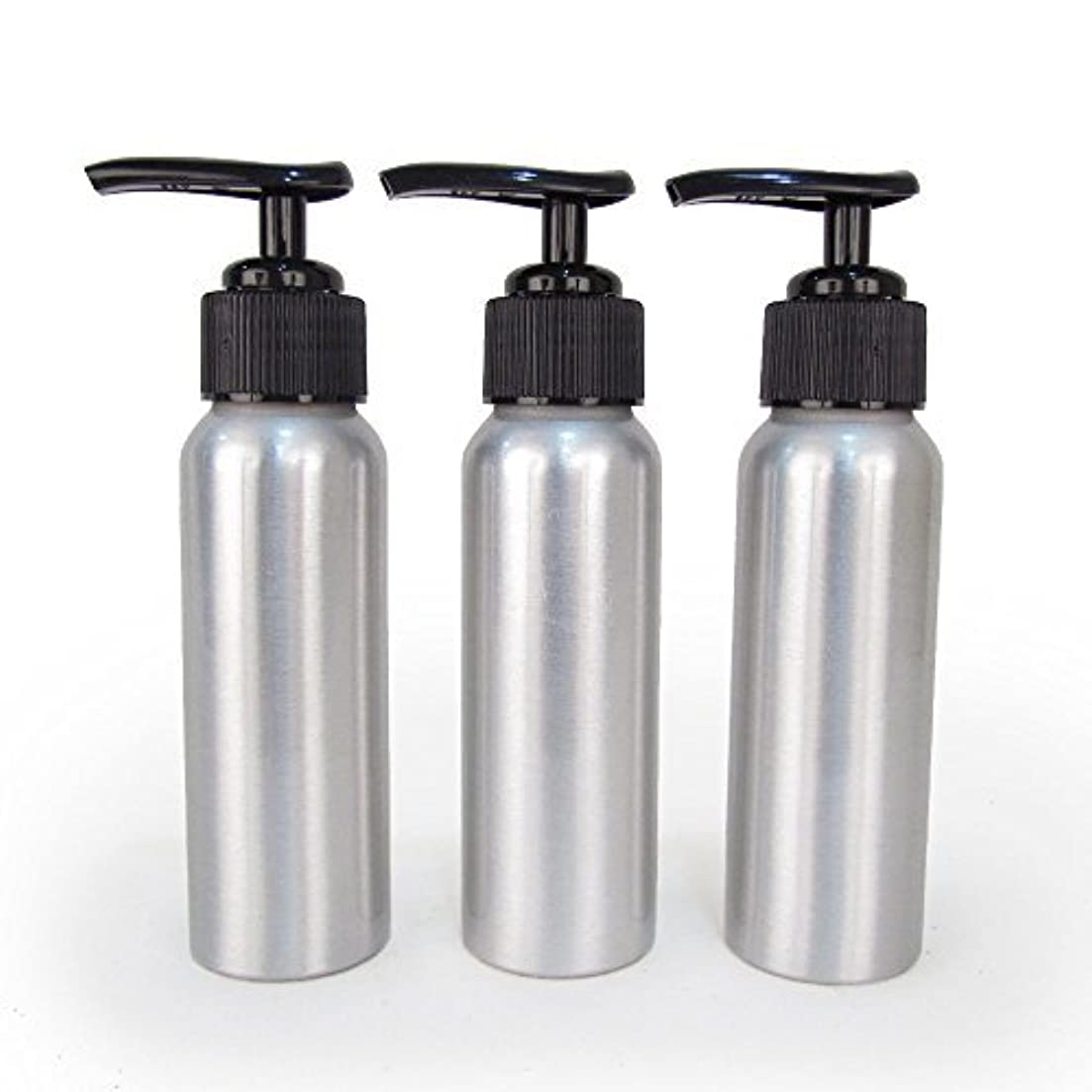 安全な発見最小Set of 3 - Slender Brushed Aluminum 2.7 oz Pump Bottle for Essential Oil Products by Rivertree Life [並行輸入品]