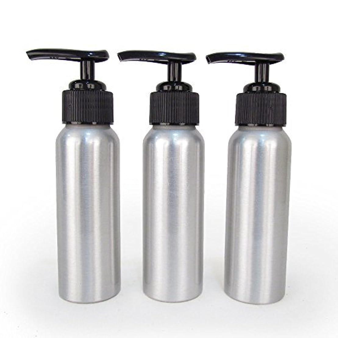 ギャングスター到着心配Set of 3 - Slender Brushed Aluminum 2.7 oz Pump Bottle for Essential Oil Products by Rivertree Life [並行輸入品]