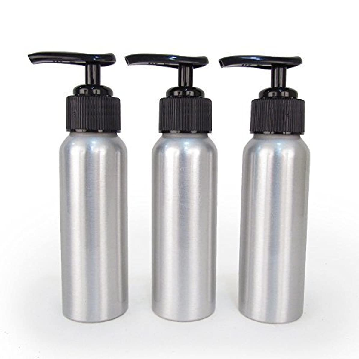 くしゃみバッジネーピアSet of 3 - Slender Brushed Aluminum 2.7 oz Pump Bottle for Essential Oil Products by Rivertree Life [並行輸入品]