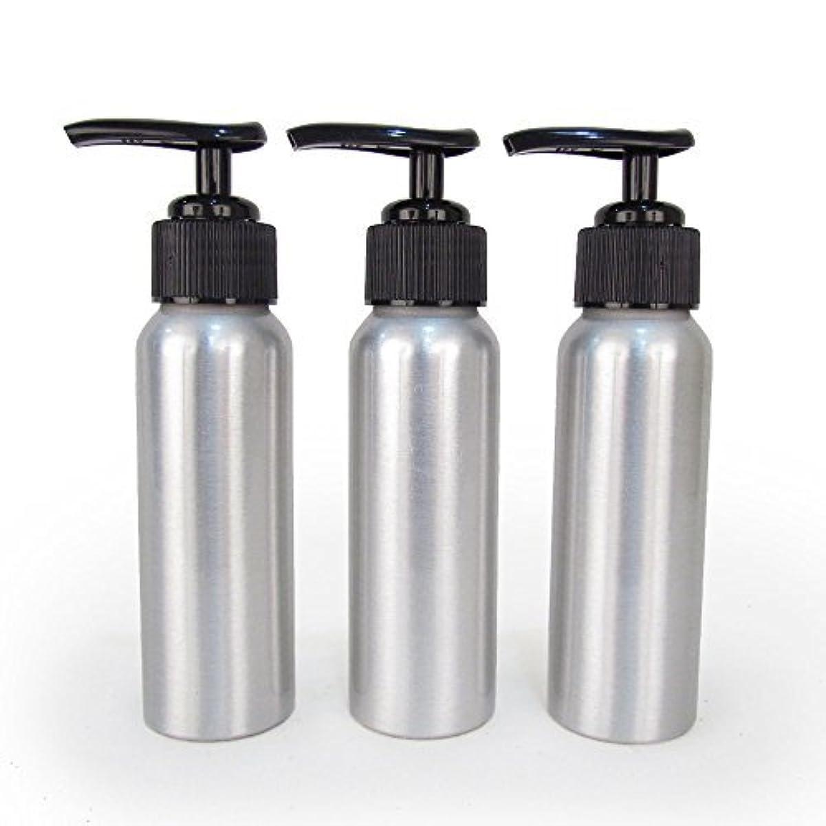 サイクル水平聖歌Set of 3 - Slender Brushed Aluminum 2.7 oz Pump Bottle for Essential Oil Products by Rivertree Life [並行輸入品]