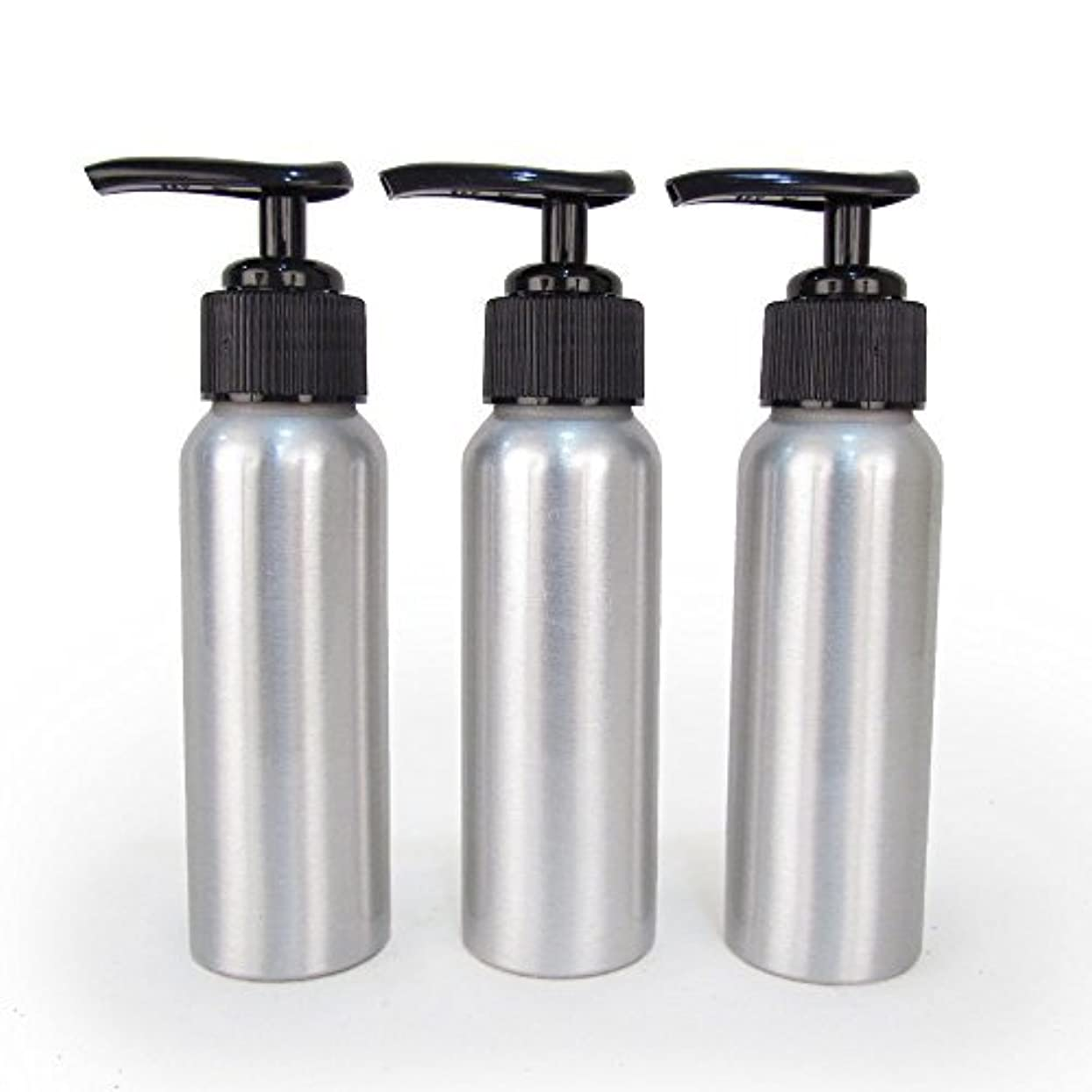 大騒ぎデータ操作Set of 3 - Slender Brushed Aluminum 2.7 oz Pump Bottle for Essential Oil Products by Rivertree Life [並行輸入品]