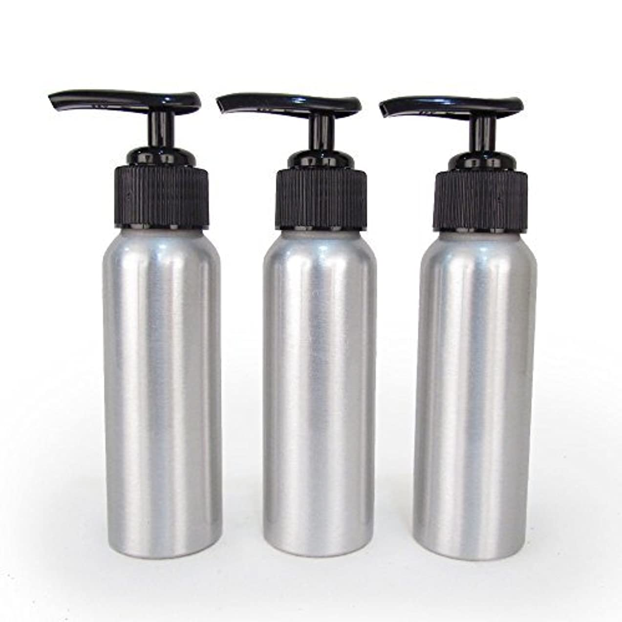 見捨てられた捨てる調和のとれたSet of 3 - Slender Brushed Aluminum 2.7 oz Pump Bottle for Essential Oil Products by Rivertree Life [並行輸入品]