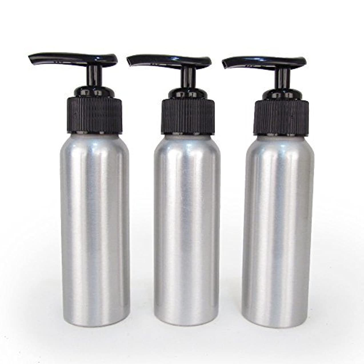 Set of 3 - Slender Brushed Aluminum 2.7 oz Pump Bottle for Essential Oil Products by Rivertree Life [並行輸入品]