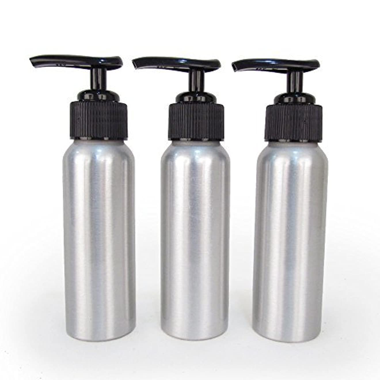 裏切り者挨拶する普通のSet of 3 - Slender Brushed Aluminum 2.7 oz Pump Bottle for Essential Oil Products by Rivertree Life [並行輸入品]