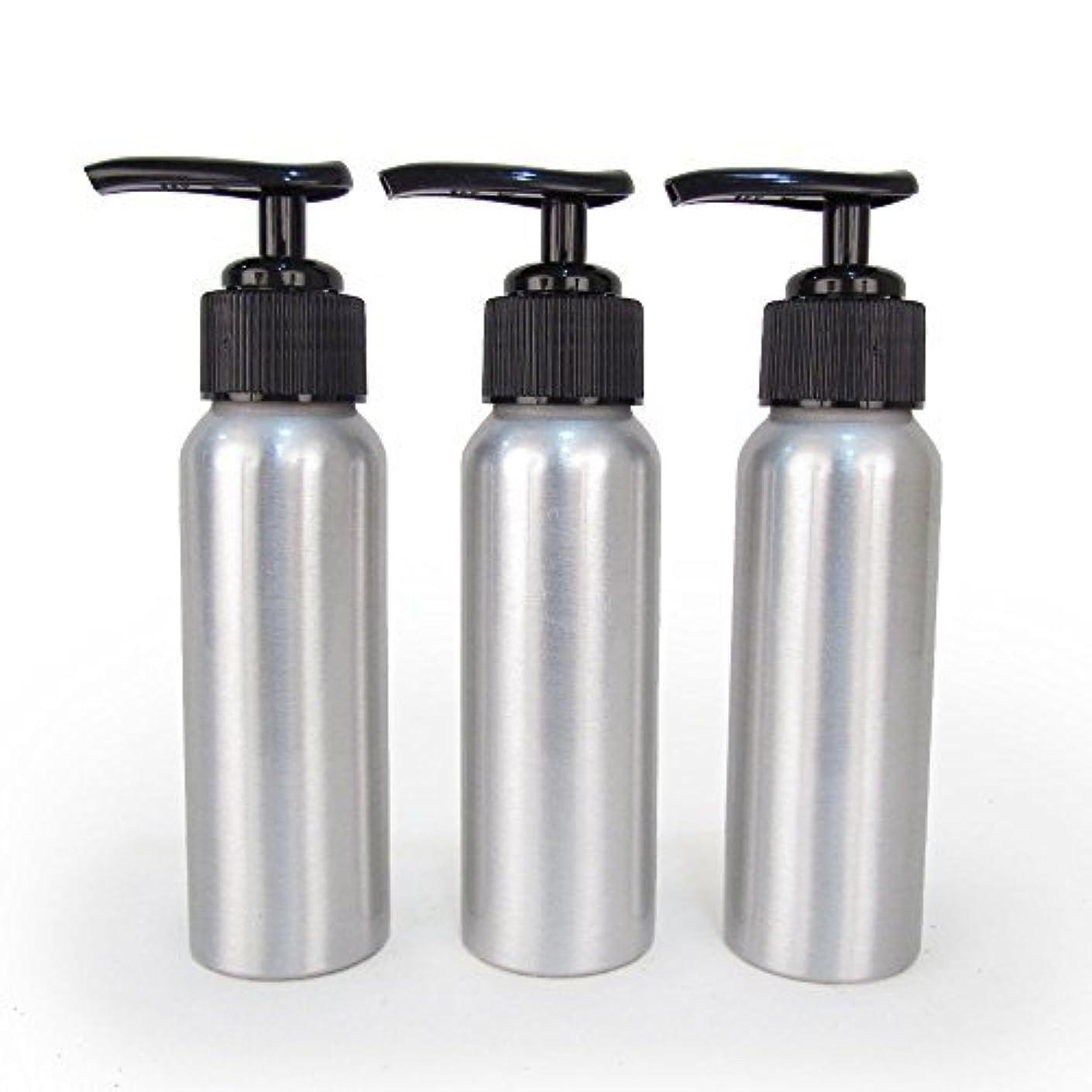 膨らみ買う主張するSet of 3 - Slender Brushed Aluminum 2.7 oz Pump Bottle for Essential Oil Products by Rivertree Life [並行輸入品]