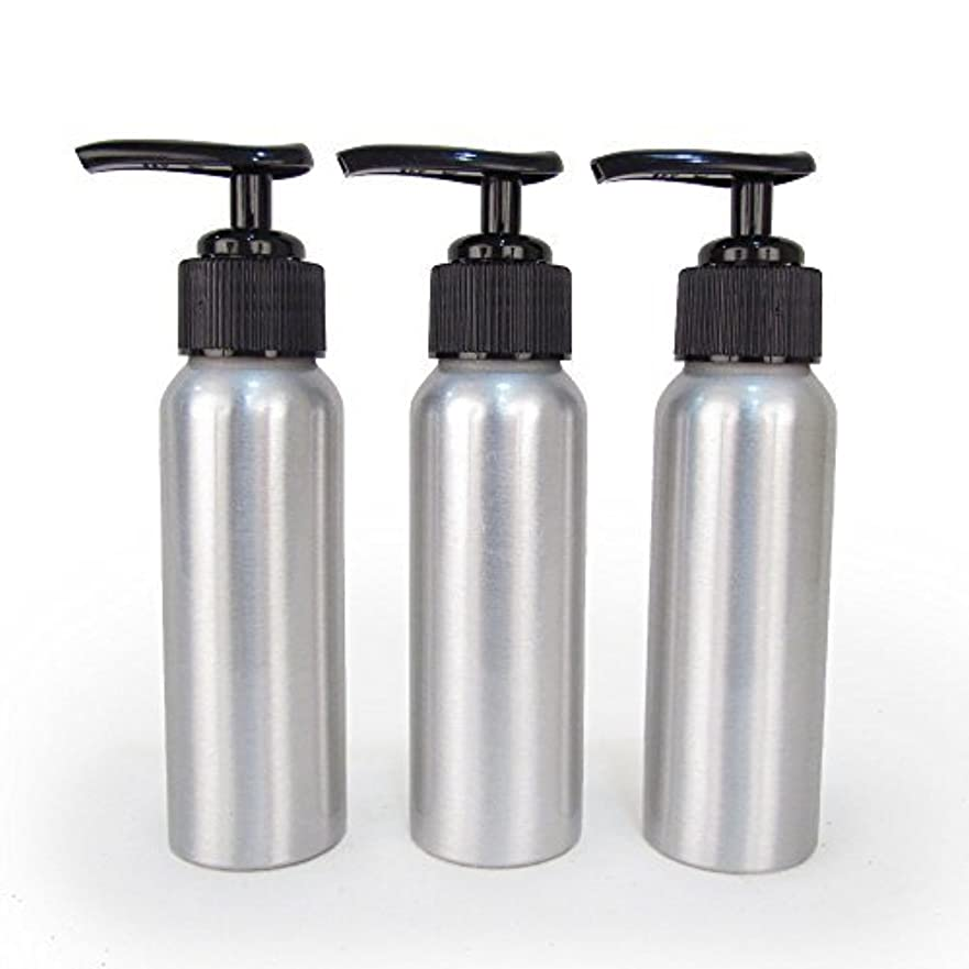 コテージパキスタン相互接続Set of 3 - Slender Brushed Aluminum 2.7 oz Pump Bottle for Essential Oil Products by Rivertree Life [並行輸入品]