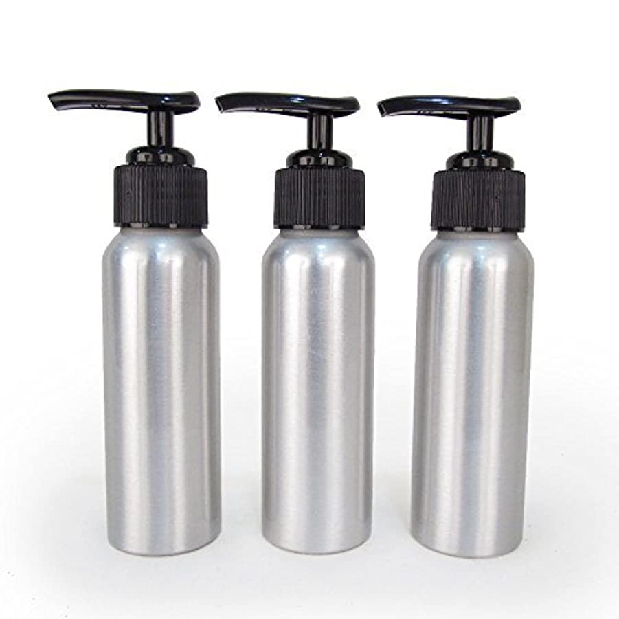 上げるパネルつぼみSet of 3 - Slender Brushed Aluminum 2.7 oz Pump Bottle for Essential Oil Products by Rivertree Life [並行輸入品]