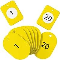 オープン工業 クローク札 20組入 親子札 番号 1-20 黄 BF-150-YE