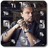 Leonardo DiCaprio 11.8'' 壁時計( レオナルド・ウィルヘルム・ディカプリオ )あなたの友人のための最高の贈り物。あなたの家のためのオリジナルデザイン