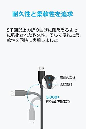 『【2本セット】Anker PowerLine Micro USB ケーブル 【急速充電・高速データ転送対応】Galaxy Xperia Android各種 その他USB機器対応 (0.1m グレー×2)』の3枚目の画像