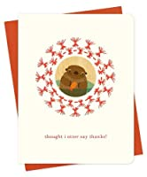 Straw Otter Embellished Letterpress Thank You Cards 6-Pack by Night Owl Paper Goods [並行輸入品]
