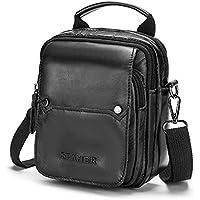 SPAHER Mens Genuine Leather Waist Bag Cross Body Bag Messenger Shoulder Bag Handbag Mobile Phone Small Belt Pouch Holster Case Men Money Purse Wallet
