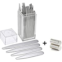 40 Metal Collar Stays with 20 Magnets for Men - Aolvo Premium Stainless Steel Collar Stays Kit Reusable for Shirt Dress, Best Gift for Father Husband Boyfriend, 4 Sizes in Clear Box