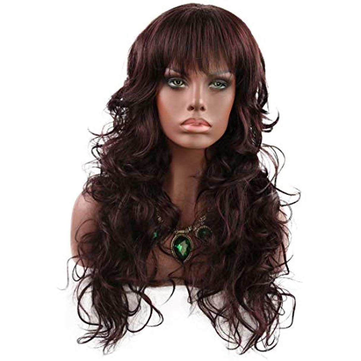 フラップ親指薬用JIANFU レディースロングカーリーフラットバンズヘア仮装パーティー小道具ライト耐熱ワイヤー合成ウィッグ (Color : Dark brown, サイズ : 190-210cm)