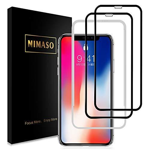 【2枚セット】Nimaso iPhoneX/XS 5.8インチ 用 全面保護フィルム 液晶強化ガラス 【フルカバー】【ガイド枠付き】【日本製素材旭硝子製】( アイフォンX/XS用)