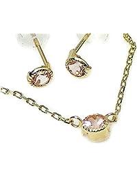 J-Jewelry ゴールド シンプル ピンクトルマリン ピアス ネックレス セット 10月誕生石