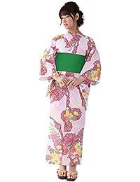 [キョウエツ] 浴衣セット 平織り フリーサイズ 3点セット(浴衣、作り帯、下駄) レディース