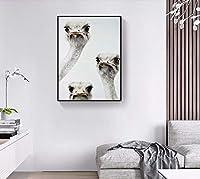 Linshel 3つの好奇心が強いダチョウの頭の絵ノルディックポスター壁アーティスト住宅装飾動物現代絵画なしフレーム60 * 90 Cm