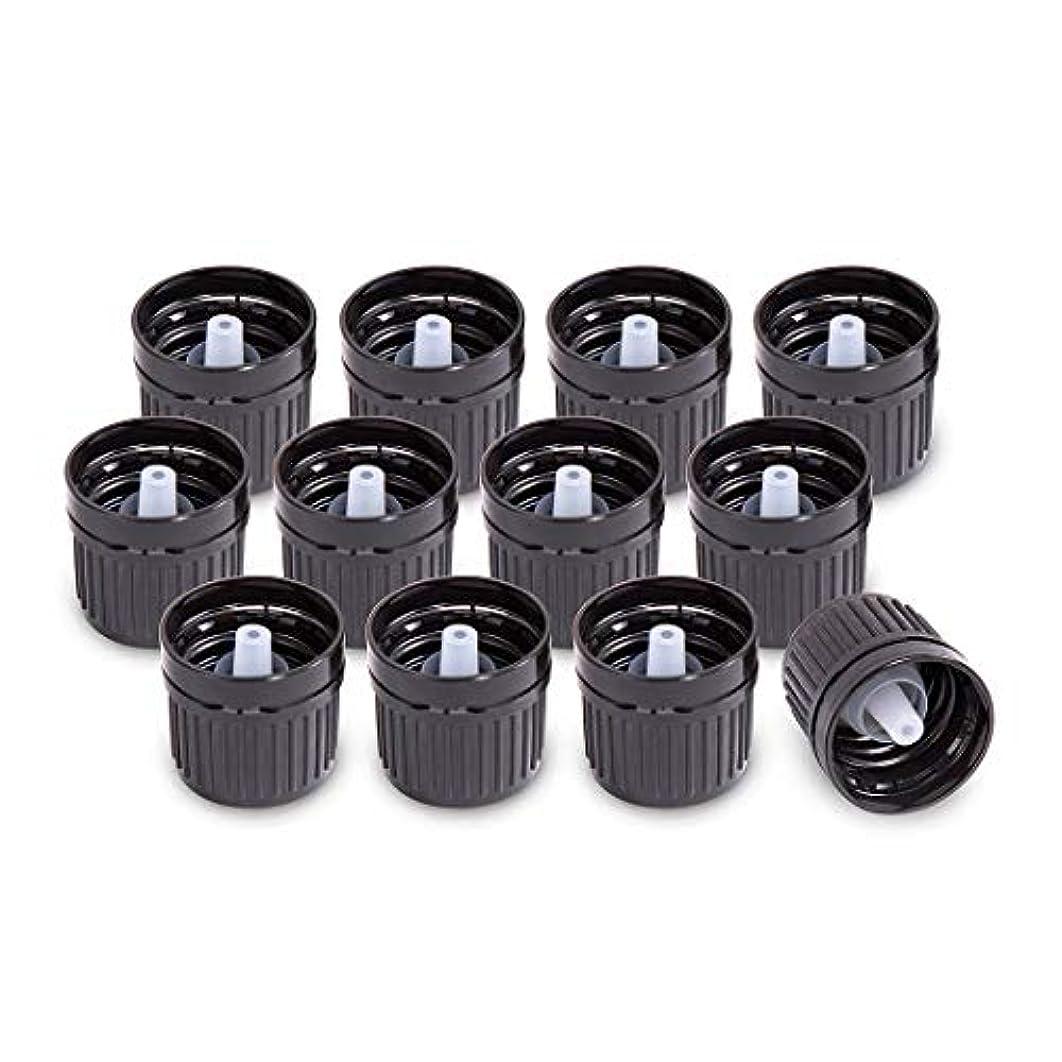 絵メルボルン同種のドロッパーを削減/オリフィスワットエッセンシャルオイルボトルキャップの12パック(ブラック)