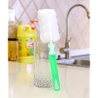 PIKANCHI キッチンンブラシ 食器洗い コップ洗い 清潔力が強い スポンジブラシ ボトル洗い ミルク瓶洗い  長柄付き 使いやすい 収納便利(グリーン)