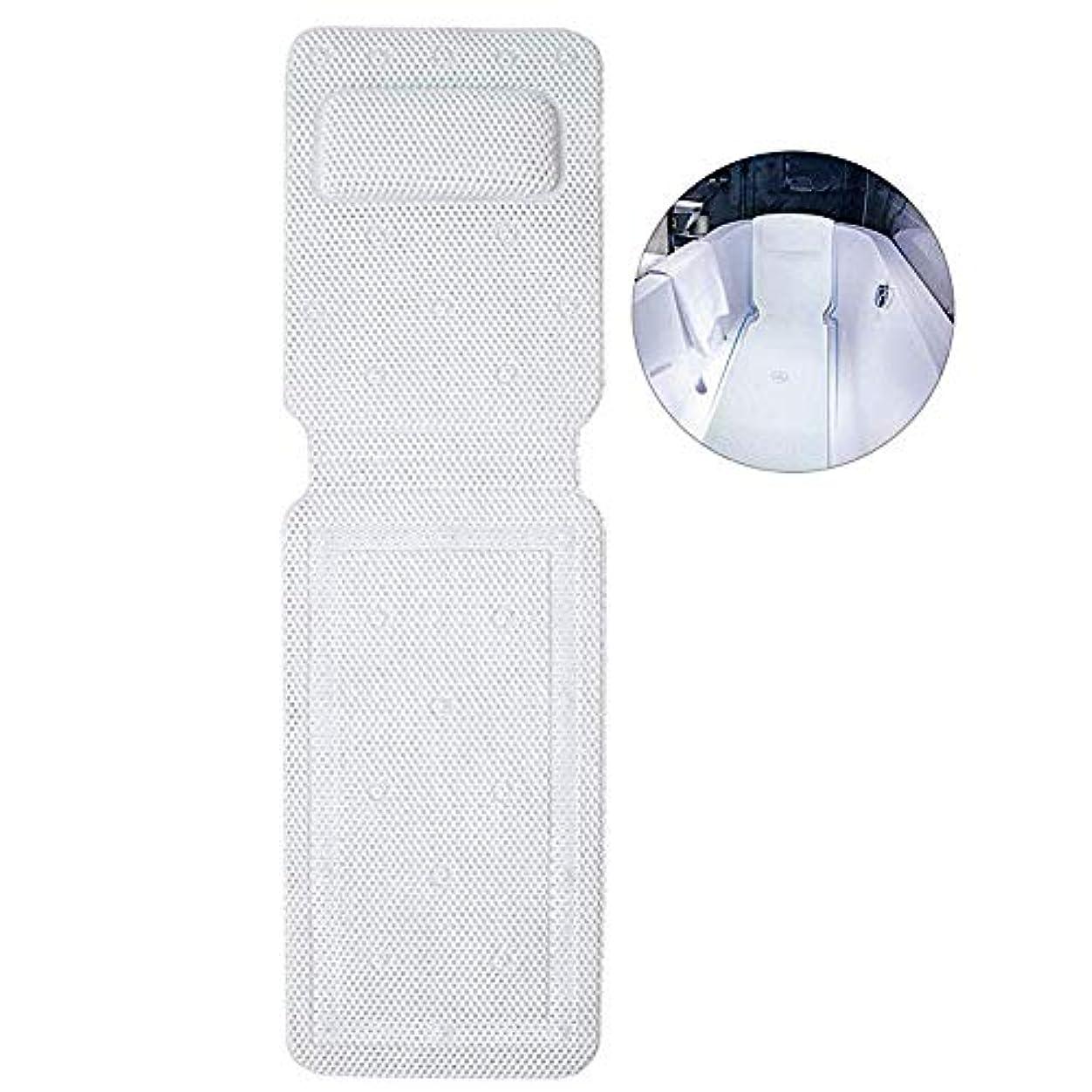 ループ原因びっくりするフルボディバスピローマット中空ポリ塩化ビニールフォームスパバスマット付きコンフォートヘッドレストと大型ノンスリップサクションカップ