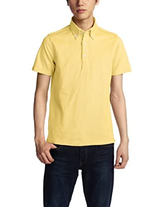 Cotton Linen Buttondown Polo Shirt 1117-299-1788: Yellow