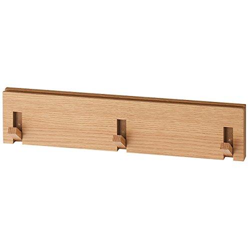 無印良品 壁に付けられる家具・3連ハンガー・オーク材 幅44×奥行2.5×高...