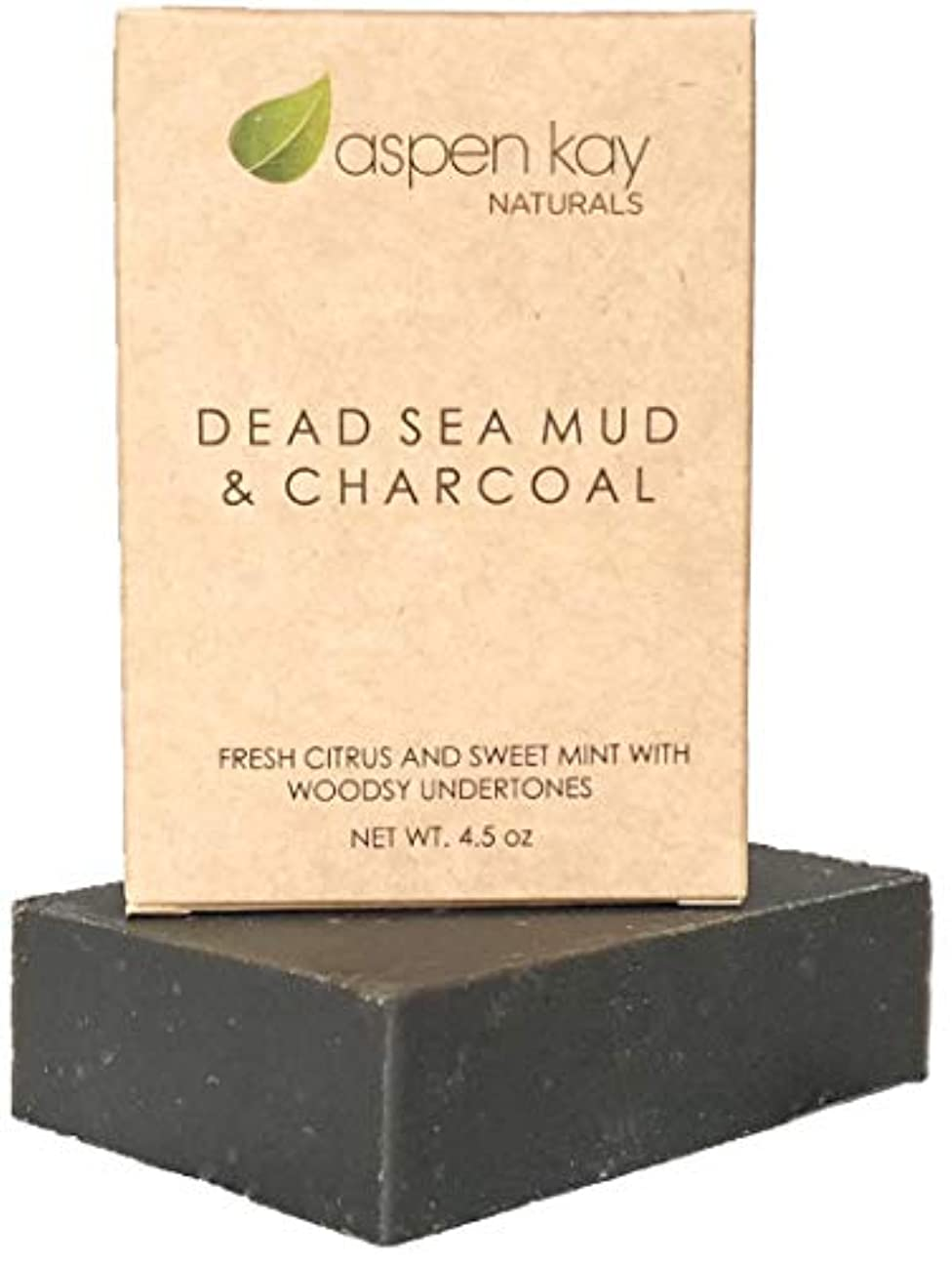 洗顔 石鹸 ボディ フェイス オーガニック ビーガン ソープ シェービング 100%オーガニック&ナチュラルの死海泥石鹸 127g DEAD SEA MUD & CHARCOAL ヴィーガン