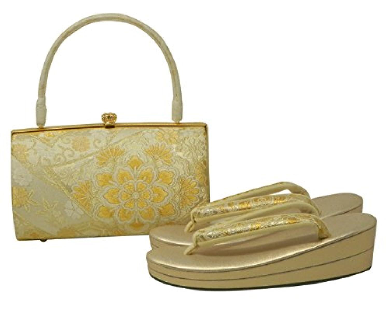 草履バッグセット 礼装 振袖 <大阪ぞうり協同組合認定> Lサイズ ゴールド 金 重ね 二枚 フォーマル 広幅 日本製