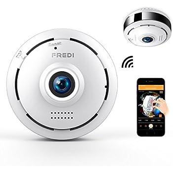 FREDI 防犯カメラ レンズ角度360度 遠隔監視・操作 iPhone/Android 対応 高画質 ネットワークカメラ ワイヤレス 双方向会話 暗視 動作検知 上書き録画 監視カメラ 取付簡単 日本語説明書付き