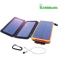 モバイルバッテリー 大容量 ソーラーチャージャー 24000mAh モバイルバッテリー ソーラー 充電器 太陽能チャージャー QIMMAOL 高速充電USB 2.1A USBケーブル付き 折り畳み式ポータブルソーラーチャージ防水 iPhone/Android対応