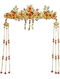 [kanrome]ジュエリー 中華風 髪飾り イヤリング 2点セット 古代 中国 装身具 クラシック 結婚式 ブライダル お嫁さん ギフト 贈物 演劇 高貴