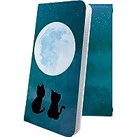 Alcatel PIXI4 手帳型ケース 月 アニマル どうぶつ 動物 動物柄 アルカテル ピクシー イオンモバイル 手帳型ケース 猫 猫柄 ネコ にゃー pixi 4 星 星柄 星空 星型 夜空 宇宙