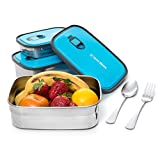 Stainless Steel Bento Lunch Box Food Container Storage 3 In 1 Leak Proof. Healthy Takeaway - Kids - Adults For Outdoor Meals. BONUS Stainless Steel Cutlery Included