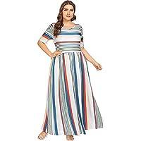 Floerns Women's Plus Size Striped Print Maxi Dress