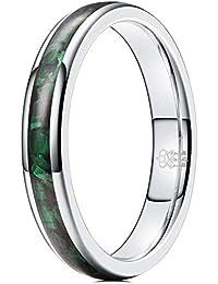 THREE KEYS JEWELRY 4mm Womens Silver Tungsten Carbide Ring Malachite Green Inlay Wedding Bands for Women
