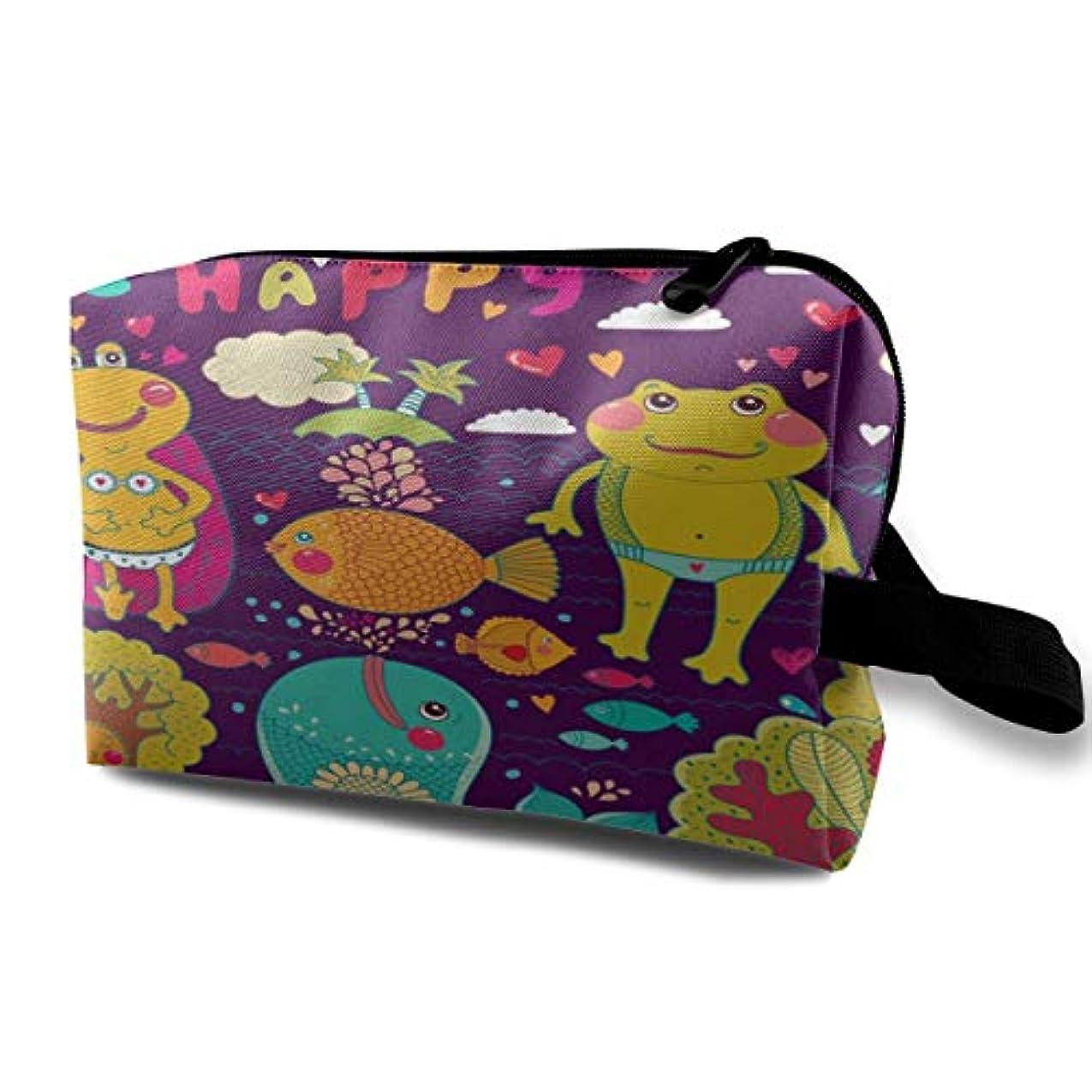 バナナ忘れる不機嫌Be Happy Frogs Whales 収納ポーチ 化粧ポーチ 大容量 軽量 耐久性 ハンドル付持ち運び便利。入れ 自宅?出張?旅行?アウトドア撮影などに対応。メンズ レディース トラベルグッズ