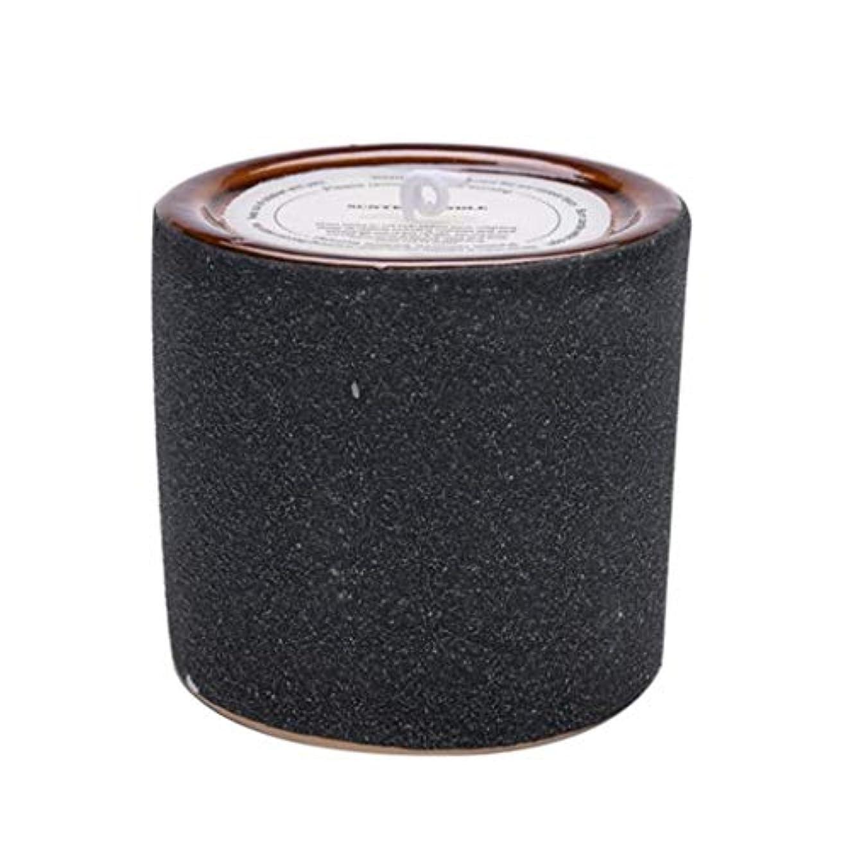 人気のアルネ実際のキャンドル、つや消しカップ香りのキャンドル、環境保護無煙大豆ワックスキャンドル(大) (Color : Black)