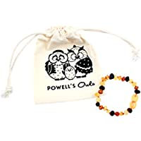 Baltic Amber Teething Bracelet or Anklet for Babies, Toddlers, and Kids - Lab-Tested - Raw Unpolished Multicolored - 5.5 Inches by Powell's Owls