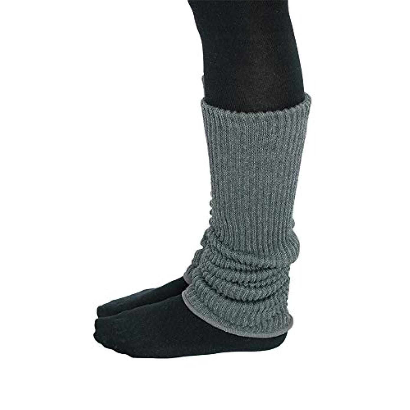 これまで増強平等シルク コットン 2重編 レッグウォーマー [日本製] 約45cmの内絹外綿の2重織り縫製であったかぬくぬくの 厚手 レッグウォーマー made in Japan (グレー杢)