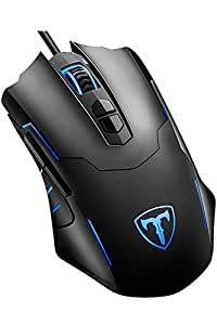 Qtuo ゲーマーマウス ゲーミングマウス  光学式 LEDライト マウス 5段階DPI調整可能 7ボタンカスタマイズ マクロ設定可能 省電力 有線 ゲームマウス 軽量 ブラック 日本語説明書付き