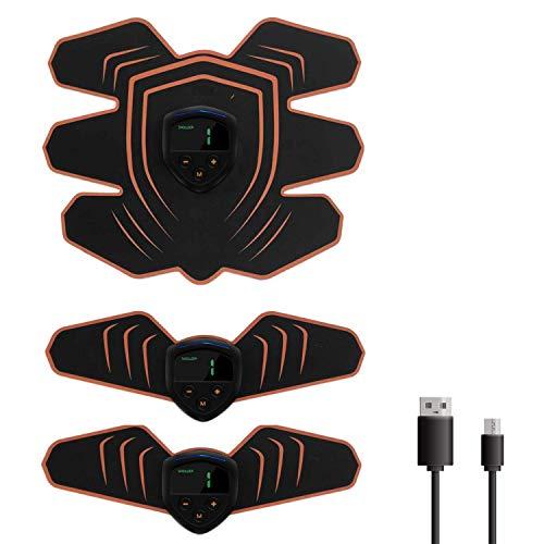 TNTAWARD 腹筋ベルト EMS USB充電式 液晶モニター 筋トレ 腕筋 6つのモード 10段階の強度 トレーニングマシン 日本語取扱説明書付き (118) …
