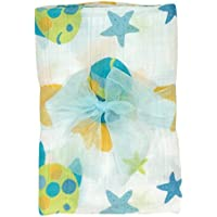 Stephan Baby Go Fish Cotton Muslin Swaddle Blanket, Blue Fishes by Stephan Baby