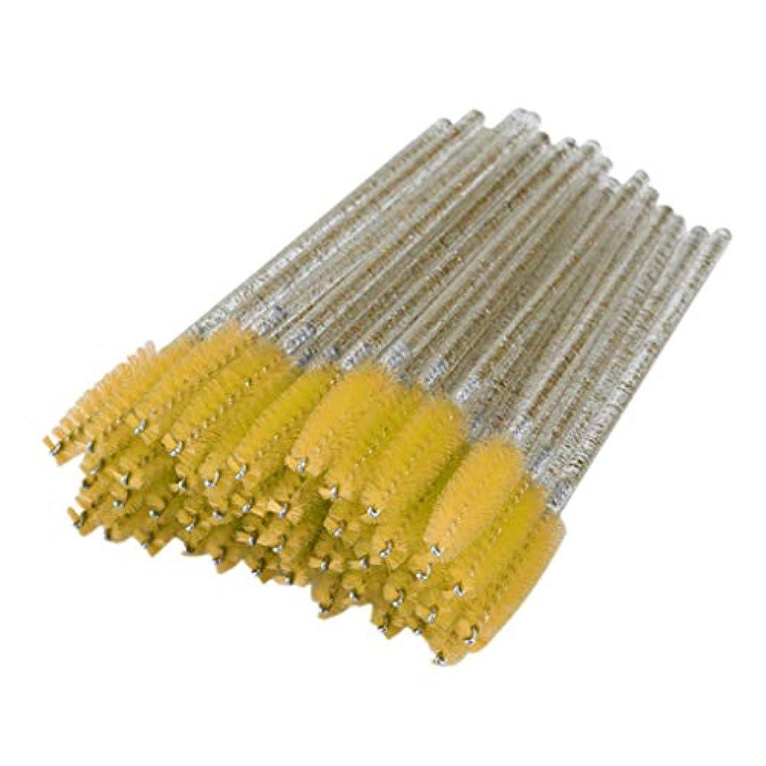 休憩文明化するベーシックT TOOYFUL まつげコーム スクリューブラシ 使い捨て まつげブラシ マスカラブラシ 衛生的 便利 約50個 全6色 - 黄