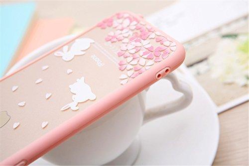 iPhone6 /6sクリア ハードケース おしゃれ きれい 桜 かわいい 猫 模様 アイフォン ハードケース カバー ジャケット スマートフォン スマホケース(花シリーズ) (桜 ウサギ)