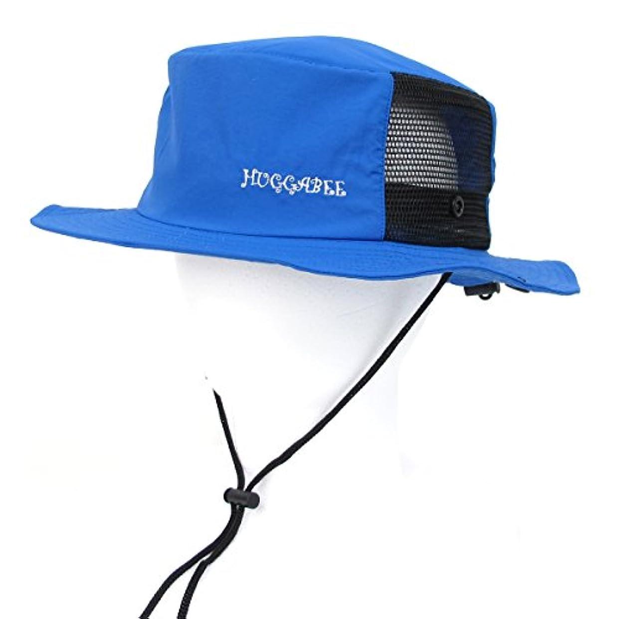 半円配偶者スリラーHUGGABEE(ハガビー) サーフハット 帽子 ブルー サファリハット キッズ 子供 メンズ レディース