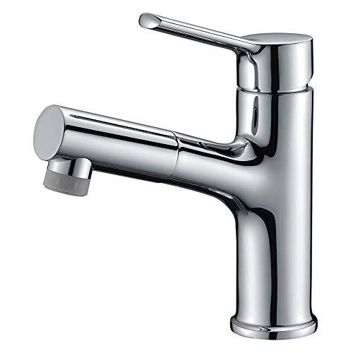 CREA 洗面蛇口 浴室用水栓 洗面 洗髪用 蛇口 引き出せる 伸縮 360度回転 引出しホース式水栓 シングルレバー混合栓 2wayの吐水式 泡沫水流 シャワー水流