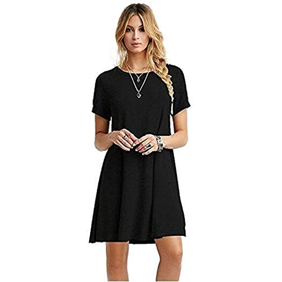 見る人マーク失業者MIFAN女性のファッション、カジュアル、ドレス、シャツ、コットン、半袖、無地、ミニ、ビーチドレス、プラスサイズのドレス