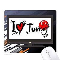 私はトルコ語フラグラブ・ハートのイラストが好きです ノンスリップラバーマウスパッドはコンピュータゲームのオフィス